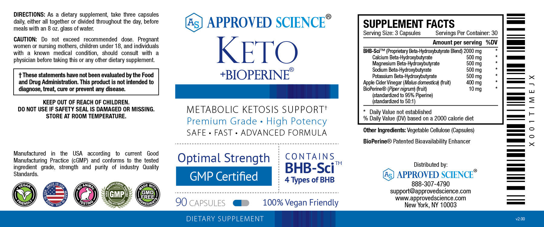 Approved Science Keto Supplement Facts